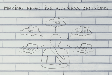 unsecure: making effective business decisions: thoughtful man thinking about alternative choices and decisions