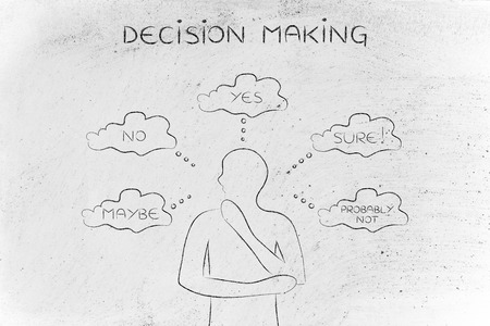 decisionmaking: decision making: thoughtful man thinking about alternative choices and decisions Stock Photo