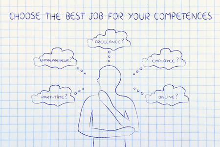find the right job for your competences: thoughtful man considering which type of jobs is the best for him (freelance, employee, online, ...)