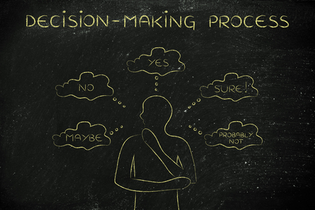 miscommunication: decision-making process: thoughtful man thinking about alternative choices and decisions