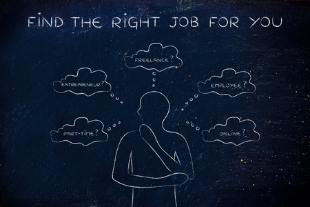 decisionmaking: find the right job for you: thoughtful man considering which type of jobs is the best for him (freelance, employee, online, ...)