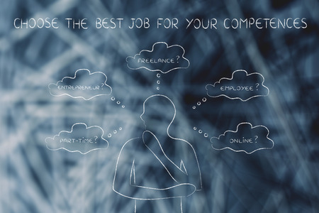 competences: find the right job for your competences: thoughtful man considering which type of jobs is the best for him (freelance, employee, online, ...)