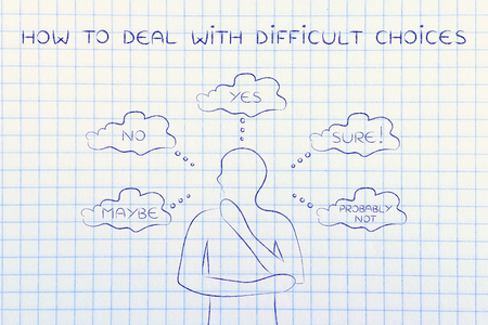 unsecure: how to deal with difficult choices: thoughtful man thinking about alternative choices and decisions