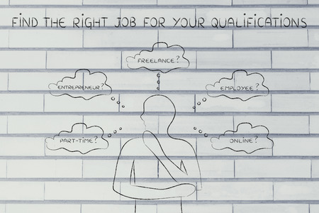 job qualifications: find the right job for your qualifications: thoughtful man considering which type of jobs is the best for him (freelance, employee, online, ...)