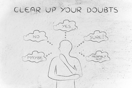 miscommunication: clear up your doubts: thoughtful man thinking about alternative choices and decisions