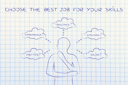 decisionmaking: find the right job for your skills: thoughtful man considering which type of jobs is the best for him (freelance, employee, online, ...)