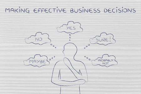 business decisions: making effective business decisions: thoughtful man thinking about alternative choices and decisions