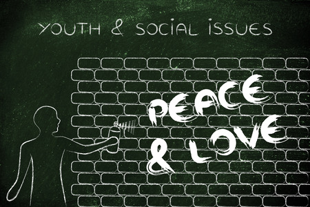 social issues: person with spray paint writing the word Peace & Love as wall graffiti, youth & social issues