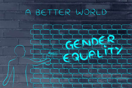 person with spray paint writing the word Gender Equality as wall graffiti, a better world