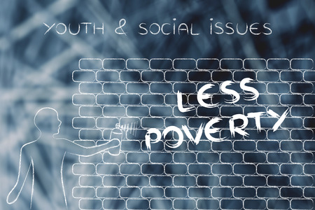 social issues: person with spray paint writing the word Less Poverty as wall graffiti, youth & social issues