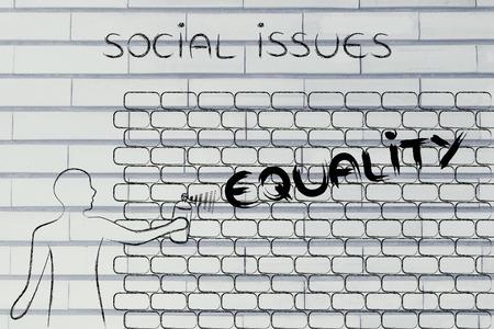 persona escribiendo: persona con pintura en aerosol de escribir la palabra igualdad como la pared de graffiti, temas sociales tema