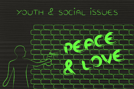 Person with spray paint writing the word peace love as wall person with spray paint writing the word peace love as wall graffiti youth ccuart Image collections