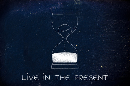 time passing: live in the present: hourglass with clock melting to sand, concept of time passing by and living life to the fullest