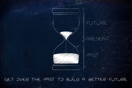 better living: get over the past to build a better future: hourglass with past, present and future captions, concept of time management and living life to the fullest