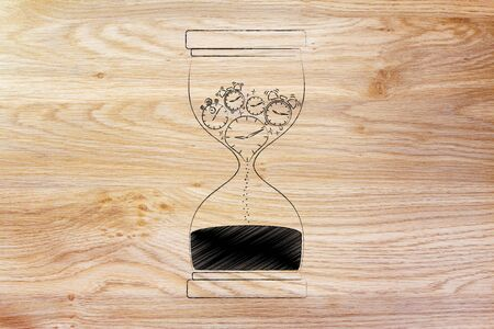 time passing: hourglass with clocks stopwatches and alarms melting to sand, concept of time passing by and living life to the fullest