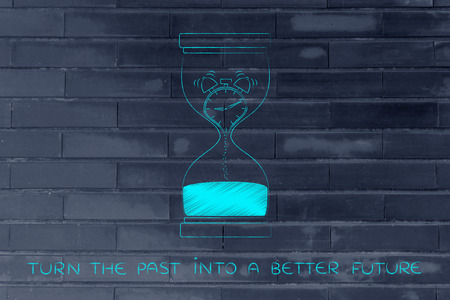 better living: turn the past into a better future: hourglass with alarm clock melting to sand, concept of time management and living life to the fullest
