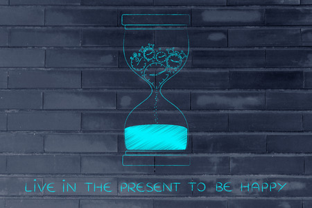 time passing: live in the present to be happy: hourglass with clocks stopwatches and alarms melting to sand, concept of time passing by and living life to the fullest Stock Photo