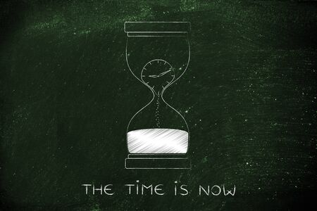 time passing: the time is now: hourglass with clock melting to sand, concept of time passing by and living life to the fullest Stock Photo