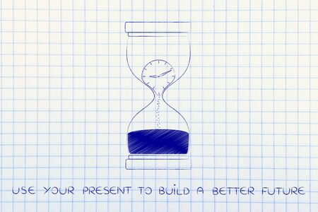 better living: use your present to build a better future: hourglass with clock melting to sand, concept of time passing by and living life to the fullest Stock Photo