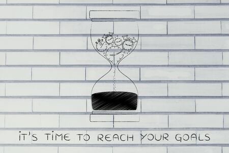 time passing: its time to reach your goals: hourglass with clocks stopwatches and alarms melting to sand, concept of time passing by and living life to the fullest