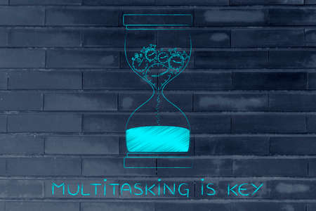 time passing: multitasking is key: hourglass with clocks stopwatches and alarms melting to sand, concept of time passing by and living life to the fullest