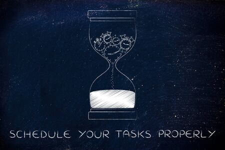 time passing: schedule your tasks properly: hourglass with clocks stopwatches and alarms melting to sand, concept of time passing by and living life to the fullest Stock Photo