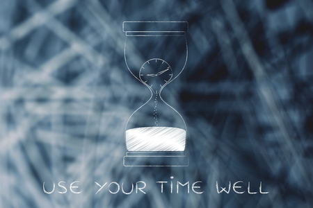 time passing: use your time well: hourglass with clock melting to sand, concept of time passing by and living life to the fullest