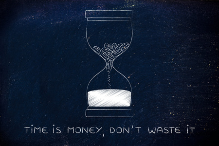 too fast: time is money, dont waste it: hourglass with coins melting into sand, concept of acting fast before its too late Stock Photo