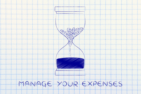 savings problems: manage your expenses: hourglass with coins melting into sand, concept of cash drain Stock Photo