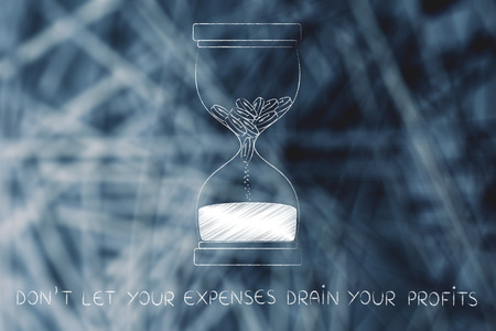 savings problems: dont let your expenses drain your profits: hourglass with coins melting into sand