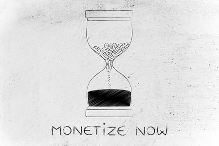 savings problems: monetize now: hourglass with coins melting into sand, concept of cash drain