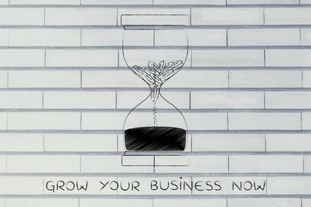 too fast: grow your business now: hourglass with coins melting into sand, concept of acting fast before its too late Stock Photo