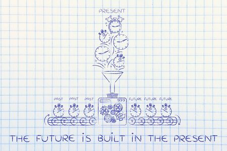 past production: the future is built in the present: time machine with production line making the future from past & present Stock Photo