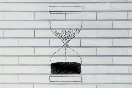 savings problems: hourglass with coins melting into sand, concept of cash drain