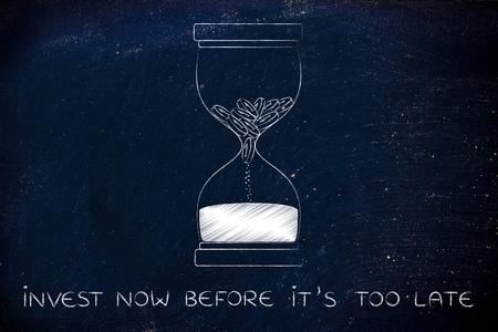 too late: invest now before its too late: hourglass with coins melting into sand, concept of cash drain