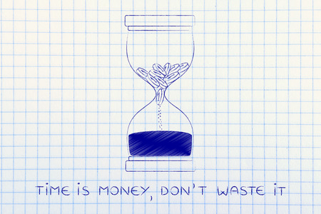 too late: time is money, dont waste it: hourglass with coins melting into sand, concept of acting fast before its too late Stock Photo