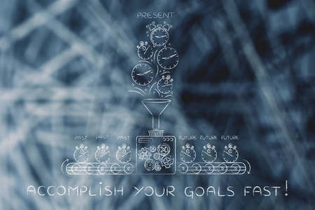 past production: accomplish your goals fast: time machine with production line making the future from past & present Stock Photo