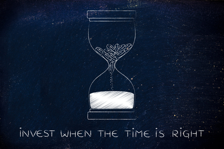 too fast: invest when the time is right: hourglass with coins melting into sand, concept of acting fast before its too late