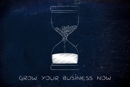 too late: grow your business now: hourglass with coins melting into sand, concept of acting fast before its too late Stock Photo