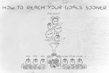 past production: how to reach your goals sooner: time machine with production line making the future from past & present