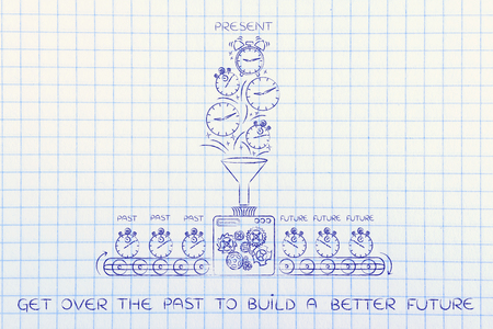 past production: get over the past to build a better future: time machine with production line making the future from past & present