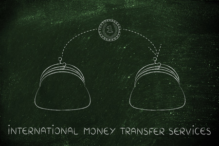 money transfer: international money transfer services: coin flying from one purse to another