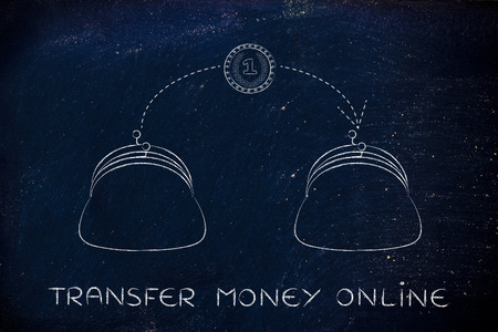 money online: transfer money online: coin flying from one purse to another