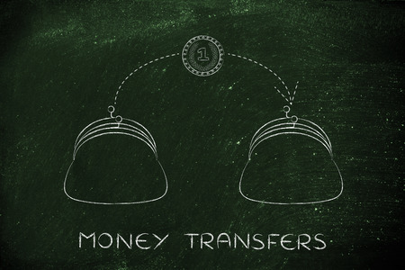 transfers: money transfers: coin flying from one purse to another Stock Photo
