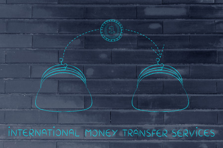 international money: international money transfer services: coin flying from one purse to another