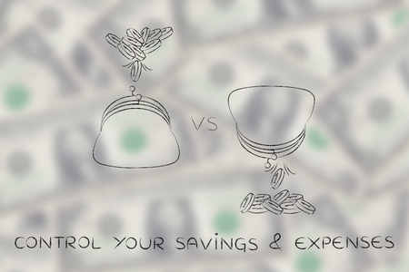 out of control: control your savings & expenses: coins being dropped into and out of purses Stock Photo