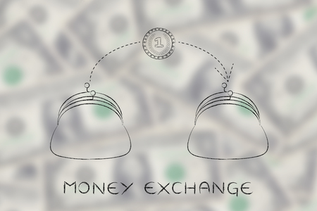 transfers: money exchange: coin flying from one purse to another, concept of paying services or money transfers