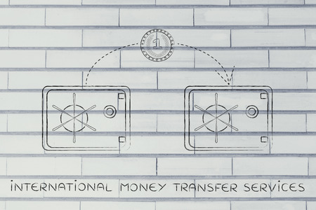 money transfer: international money transfer services: coin flying from one safe to another