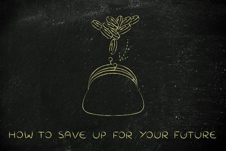 wie Sie für Ihre Zukunft zu sparen: Münzen in eine Handtasche fliegen, Konzept zu verdienen oder sparen Sie sich Standard-Bild
