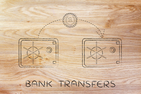 transfers: bank transfers: coin flying from one safe to another Stock Photo